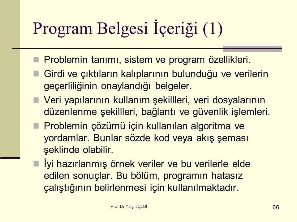 Program Belgesi İçeriği (1)