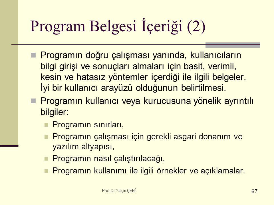Program Belgesi İçeriği (2)