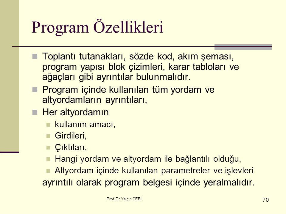 Program Özellikleri