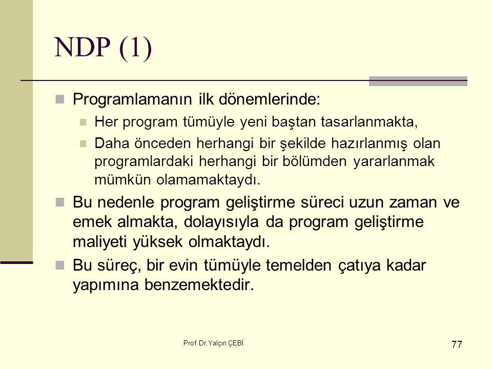 NDP (1) Programlamanın ilk dönemlerinde: