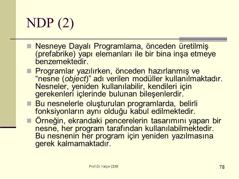 NDP (2) Nesneye Dayalı Programlama, önceden üretilmiş (prefabrike) yapı elemanları ile bir bina inşa etmeye benzemektedir.
