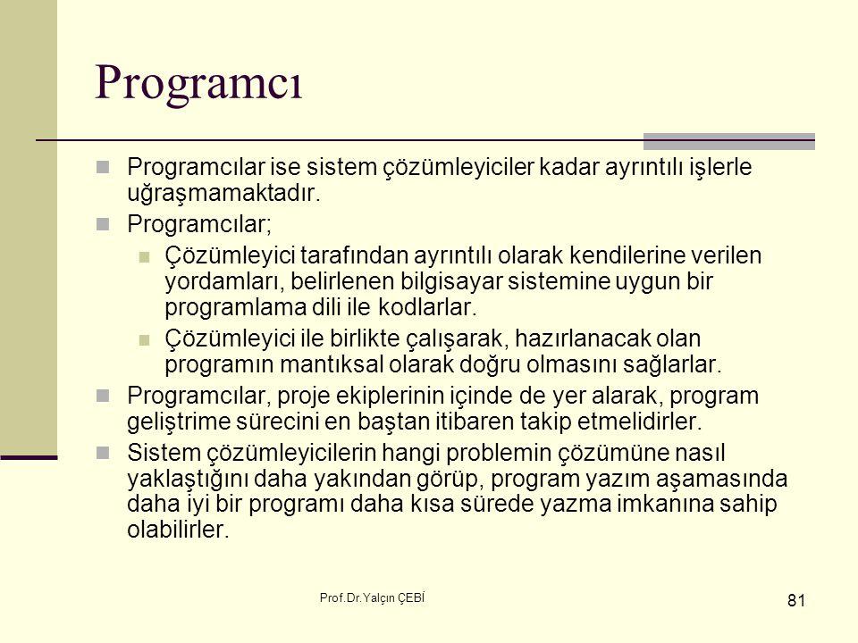 Programcı Programcılar ise sistem çözümleyiciler kadar ayrıntılı işlerle uğraşmamaktadır. Programcılar;