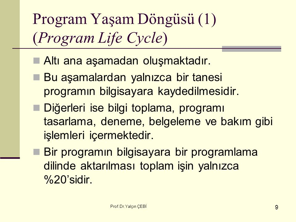 Program Yaşam Döngüsü (1) (Program Life Cycle)