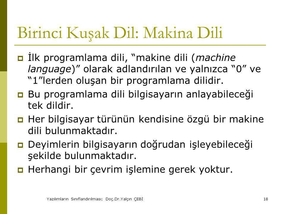 Birinci Kuşak Dil: Makina Dili