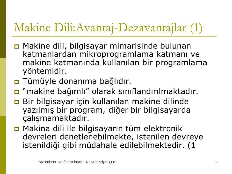 Makine Dili:Avantaj-Dezavantajlar (1)