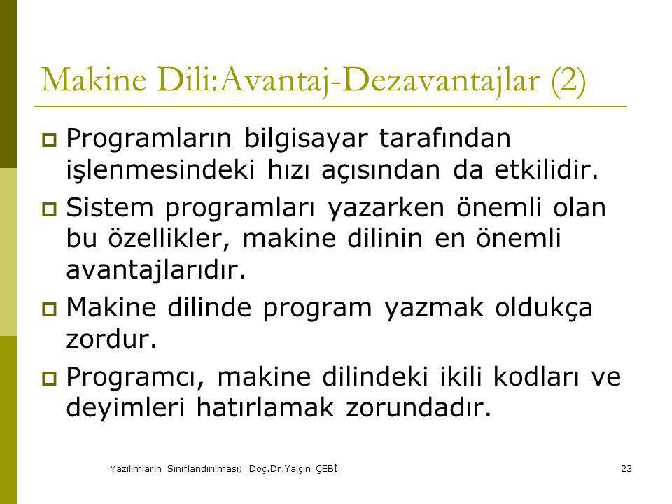 Makine Dili:Avantaj-Dezavantajlar (2)