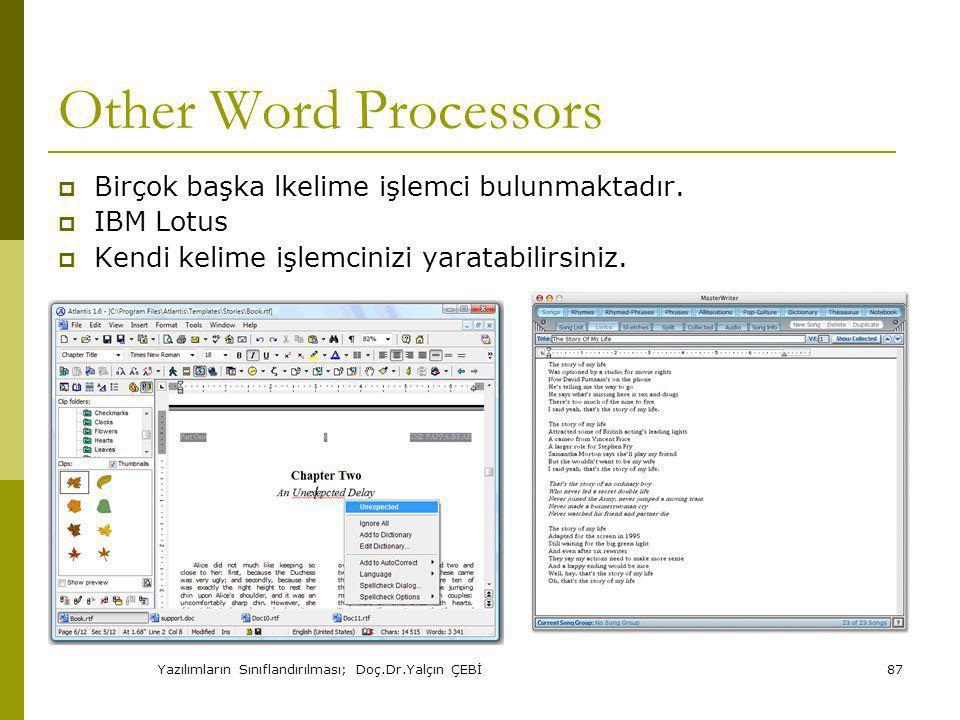 Yazılımların Sınıflandırılması; Doç.Dr.Yalçın ÇEBİ