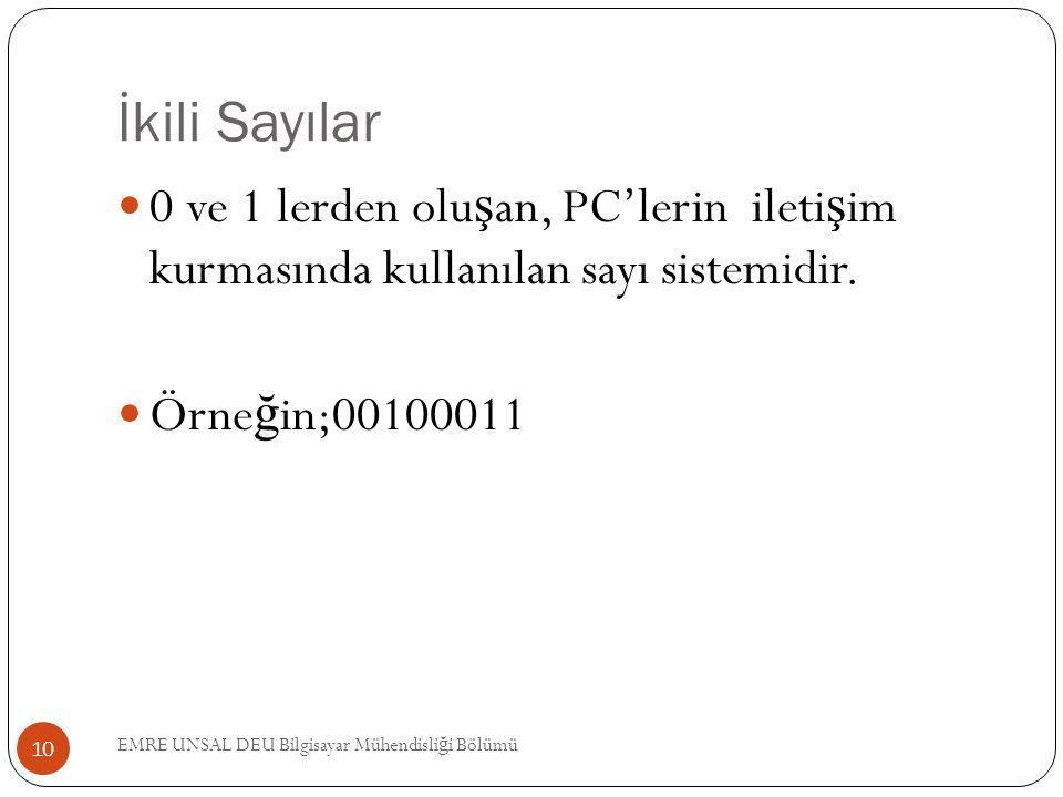 İkili Sayılar 0 ve 1 lerden oluşan, PC'lerin iletişim kurmasında kullanılan sayı sistemidir. Örneğin;00100011.