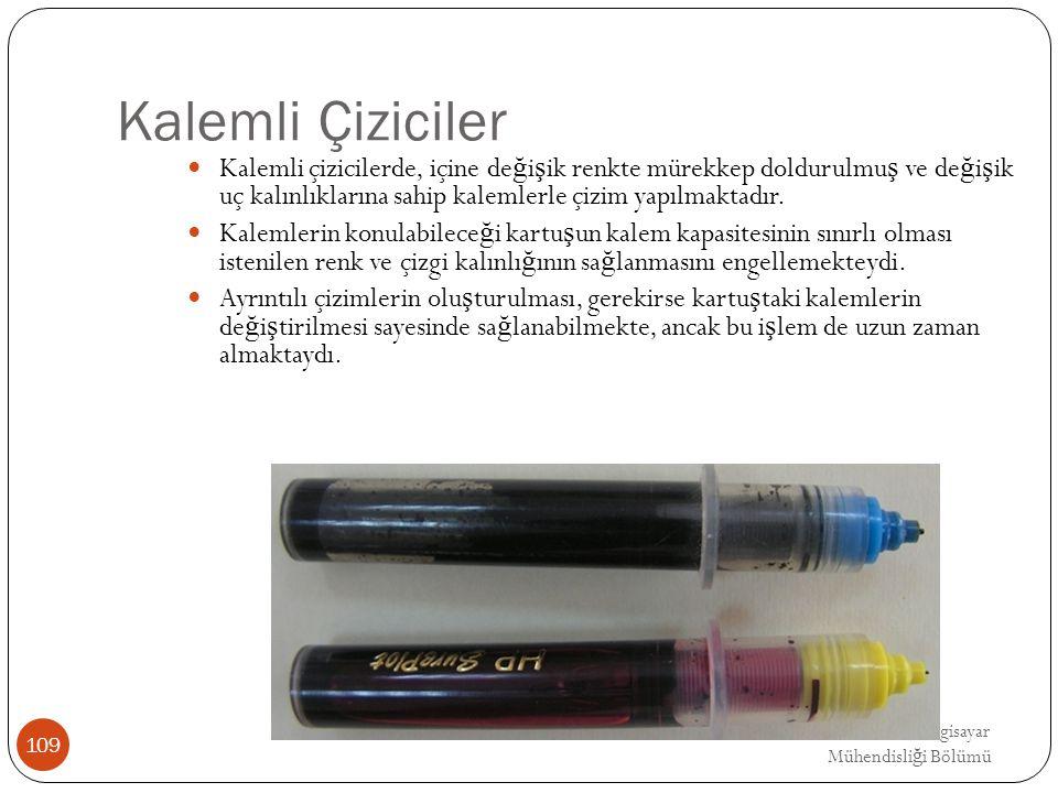 Kalemli Çiziciler Kalemli çizicilerde, içine değişik renkte mürekkep doldurulmuş ve değişik uç kalınlıklarına sahip kalemlerle çizim yapılmaktadır.