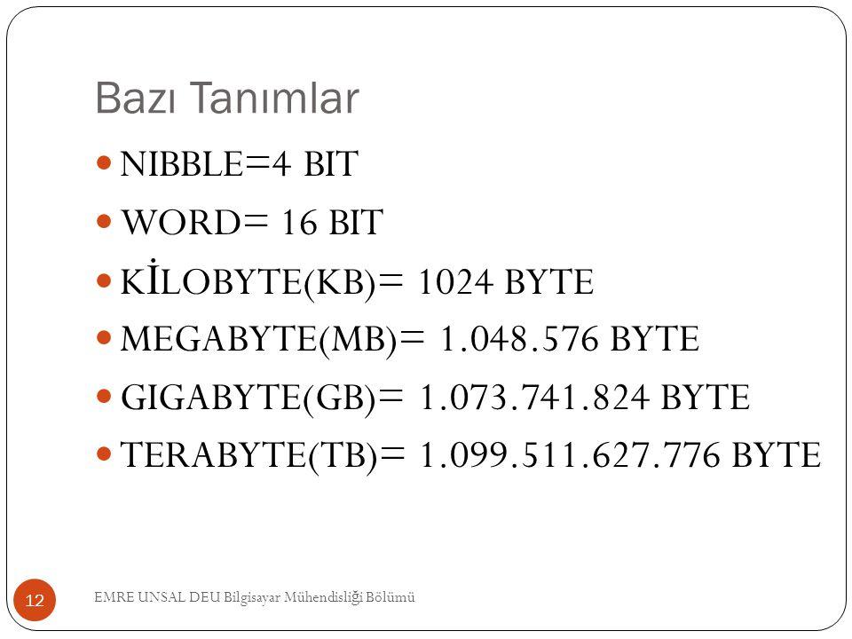 Bazı Tanımlar NIBBLE=4 BIT WORD= 16 BIT KİLOBYTE(KB)= 1024 BYTE