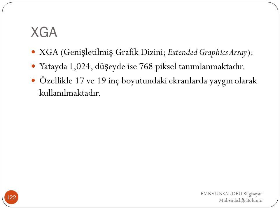 XGA XGA (Genişletilmiş Grafik Dizini; Extended Graphics Array):