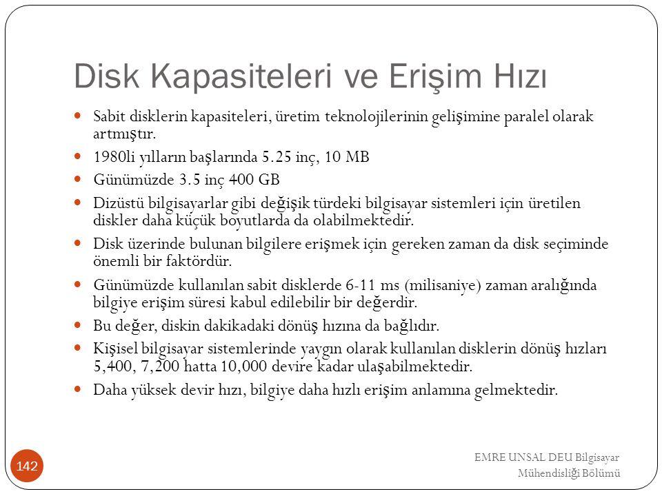 Disk Kapasiteleri ve Erişim Hızı