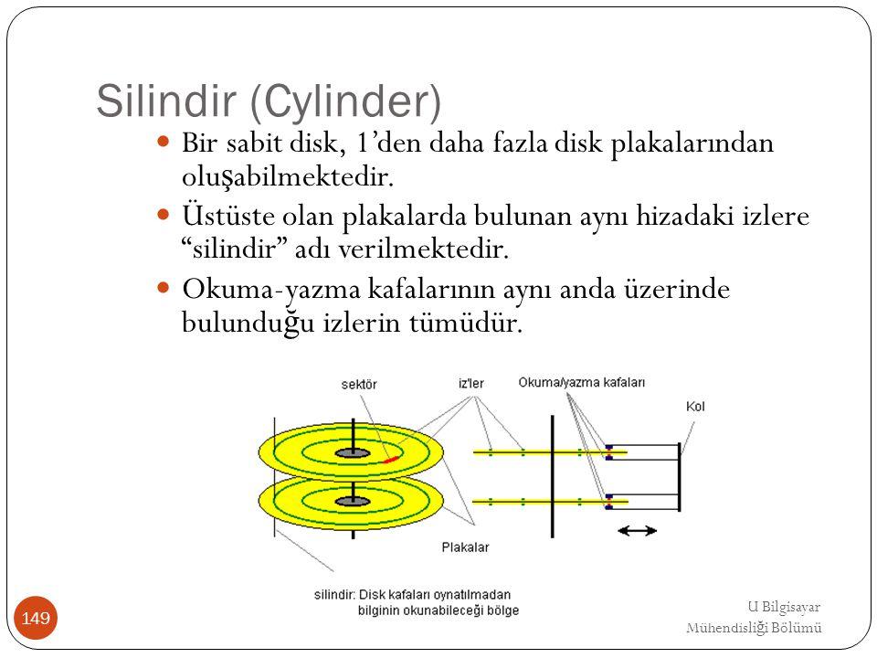Silindir (Cylinder) Bir sabit disk, 1'den daha fazla disk plakalarından oluşabilmektedir.