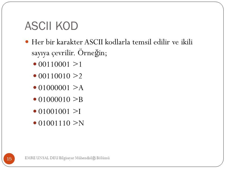 ASCII KOD Her bir karakter ASCII kodlarla temsil edilir ve ikili sayıya çevrilir. Örneğin; 00110001 >1.
