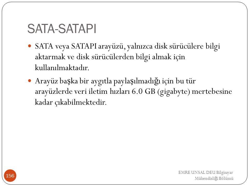 SATA-SATAPI SATA veya SATAPI arayüzü, yalnızca disk sürücülere bilgi aktarmak ve disk sürücülerden bilgi almak için kullanılmaktadır.