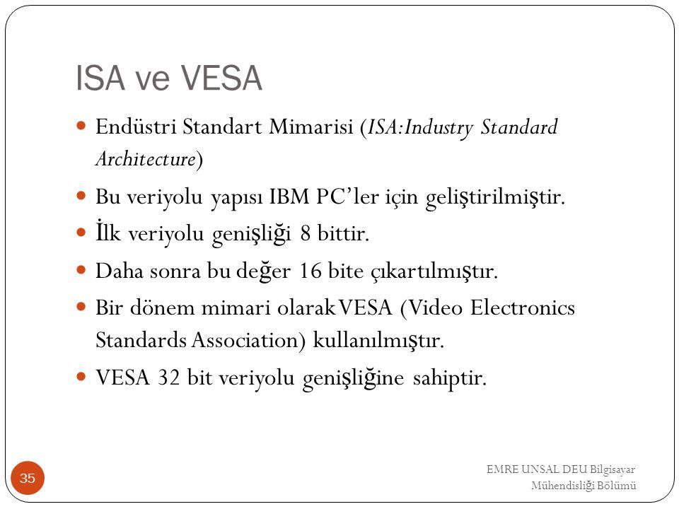ISA ve VESA Endüstri Standart Mimarisi (ISA:Industry Standard Architecture) Bu veriyolu yapısı IBM PC'ler için geliştirilmiştir.