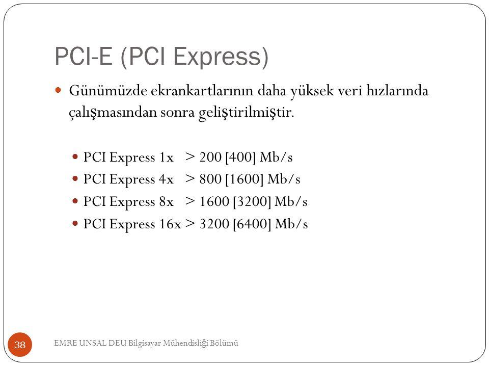 PCI-E (PCI Express) Günümüzde ekrankartlarının daha yüksek veri hızlarında çalışmasından sonra geliştirilmiştir.