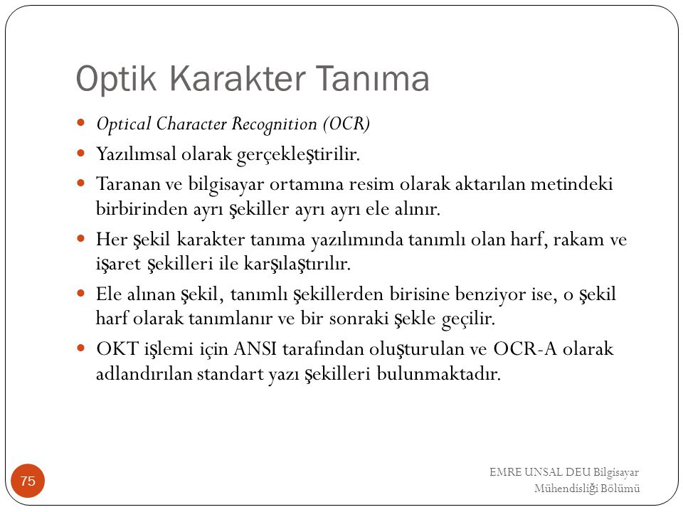 Optik Karakter Tanıma Optical Character Recognition (OCR)