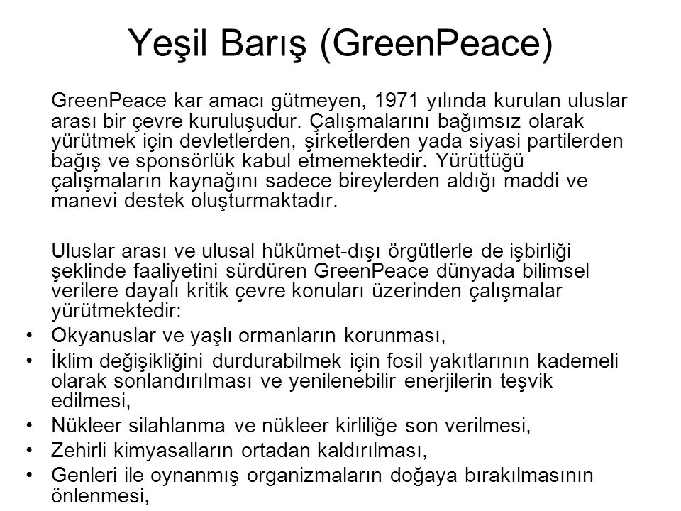 Yeşil Barış (GreenPeace)