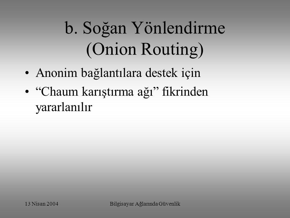 b. Soğan Yönlendirme (Onion Routing)