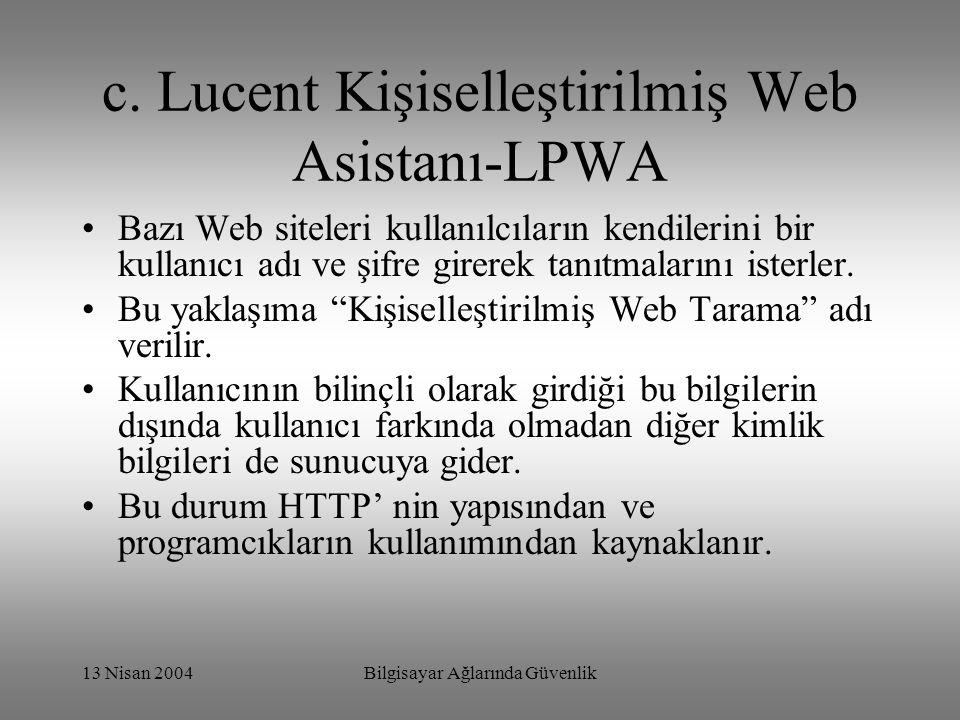 c. Lucent Kişiselleştirilmiş Web Asistanı-LPWA