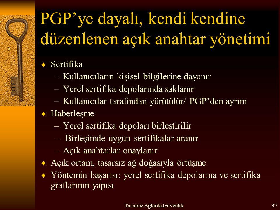 PGP'ye dayalı, kendi kendine düzenlenen açık anahtar yönetimi