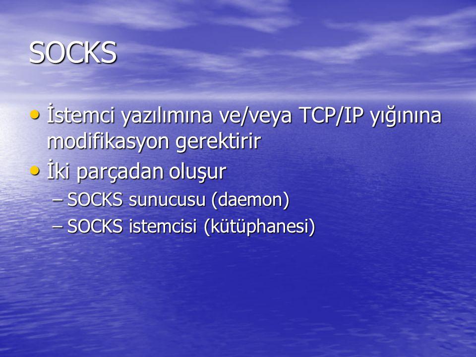SOCKS İstemci yazılımına ve/veya TCP/IP yığınına modifikasyon gerektirir. İki parçadan oluşur. SOCKS sunucusu (daemon)