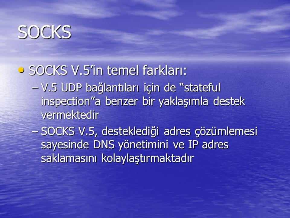 SOCKS SOCKS V.5'in temel farkları: