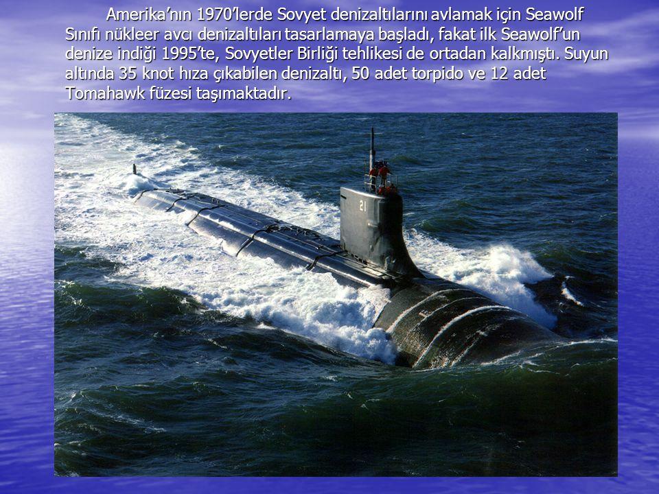 Amerika'nın 1970'lerde Sovyet denizaltılarını avlamak için Seawolf Sınıfı nükleer avcı denizaltıları tasarlamaya başladı, fakat ilk Seawolf'un denize indiği 1995'te, Sovyetler Birliği tehlikesi de ortadan kalkmıştı.