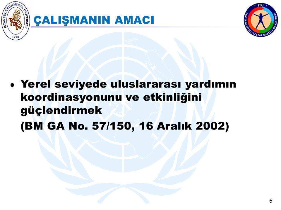 ÇALIŞMANIN AMACI Yerel seviyede uluslararası yardımın koordinasyonunu ve etkinliğini güçlendirmek.
