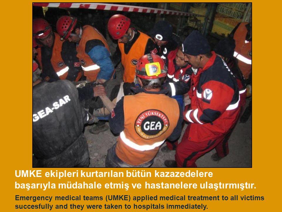 UMKE ekipleri kurtarılan bütün kazazedelere