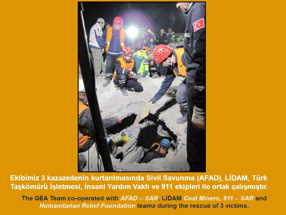 Ekibimiz 3 kazazedenin kurtarılmasında Sivil Savunma (AFAD), LİDAM, Türk Taşkömürü İşletmesi, İnsani Yardım Vakfı ve 911 ekipleri ile ortak çalışmıştır.