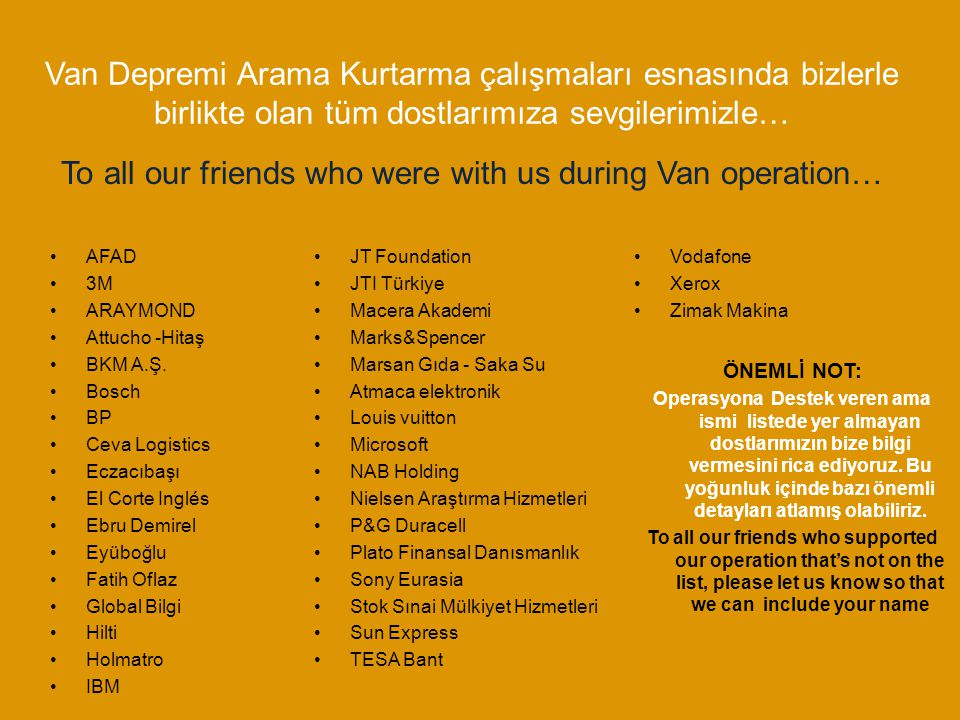 To all our friends who were with us during Van operation…