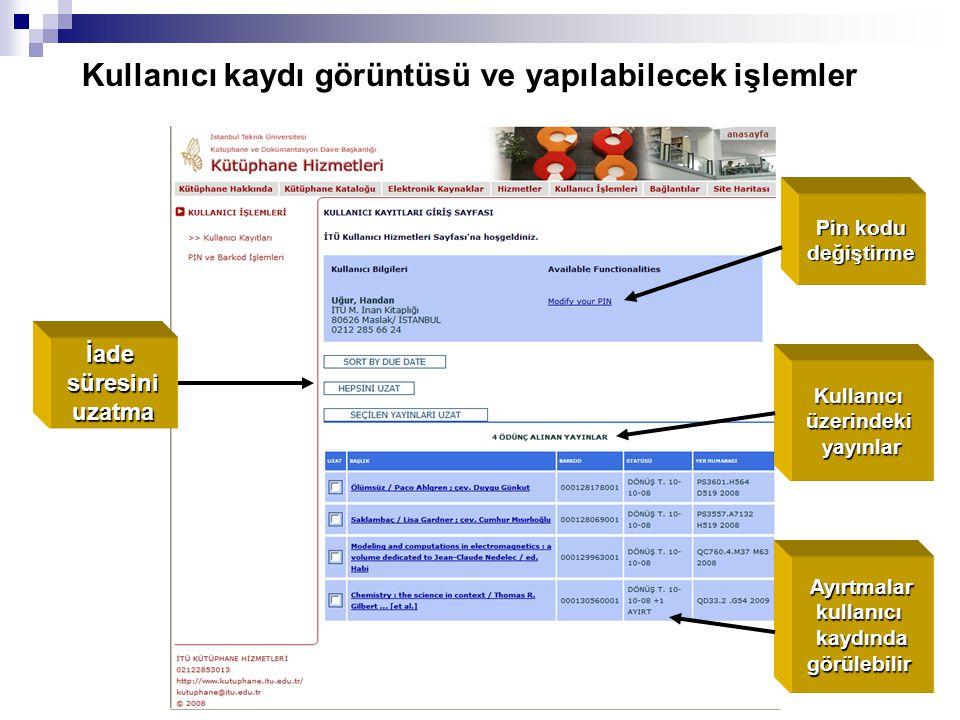 Kullanıcı kaydı görüntüsü ve yapılabilecek işlemler