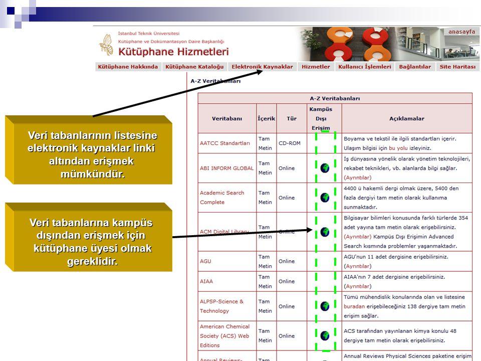 Veri tabanlarının listesine elektronik kaynaklar linki