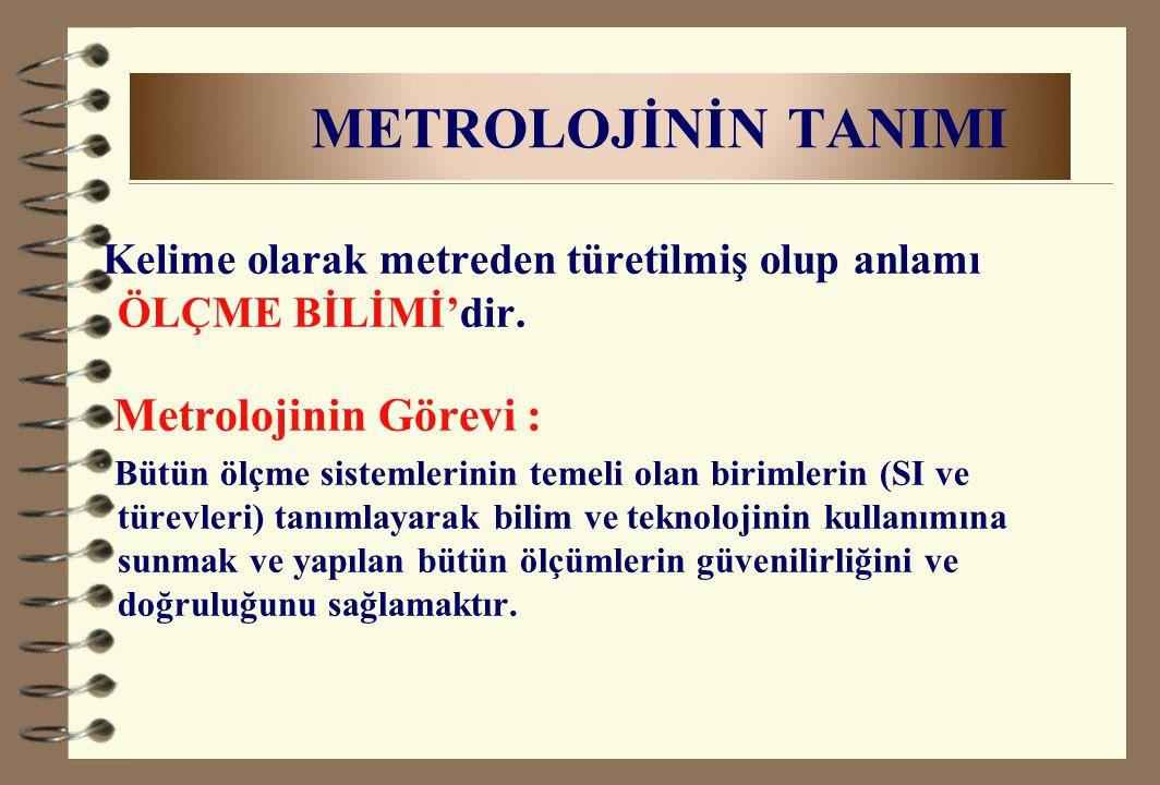 METROLOJİNİN TANIMI Metrolojinin Görevi :