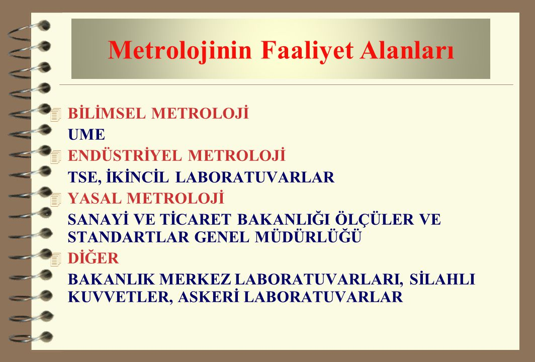 Metrolojinin Faaliyet Alanları
