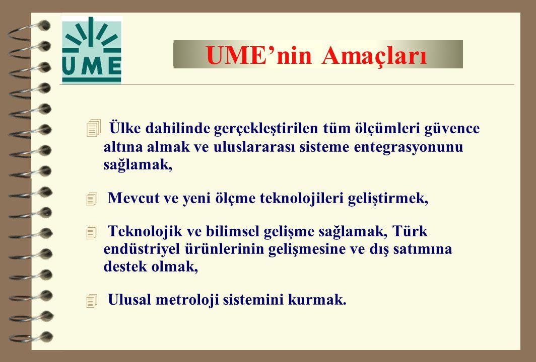 UME'nin Amaçları Ülke dahilinde gerçekleştirilen tüm ölçümleri güvence altına almak ve uluslararası sisteme entegrasyonunu sağlamak,