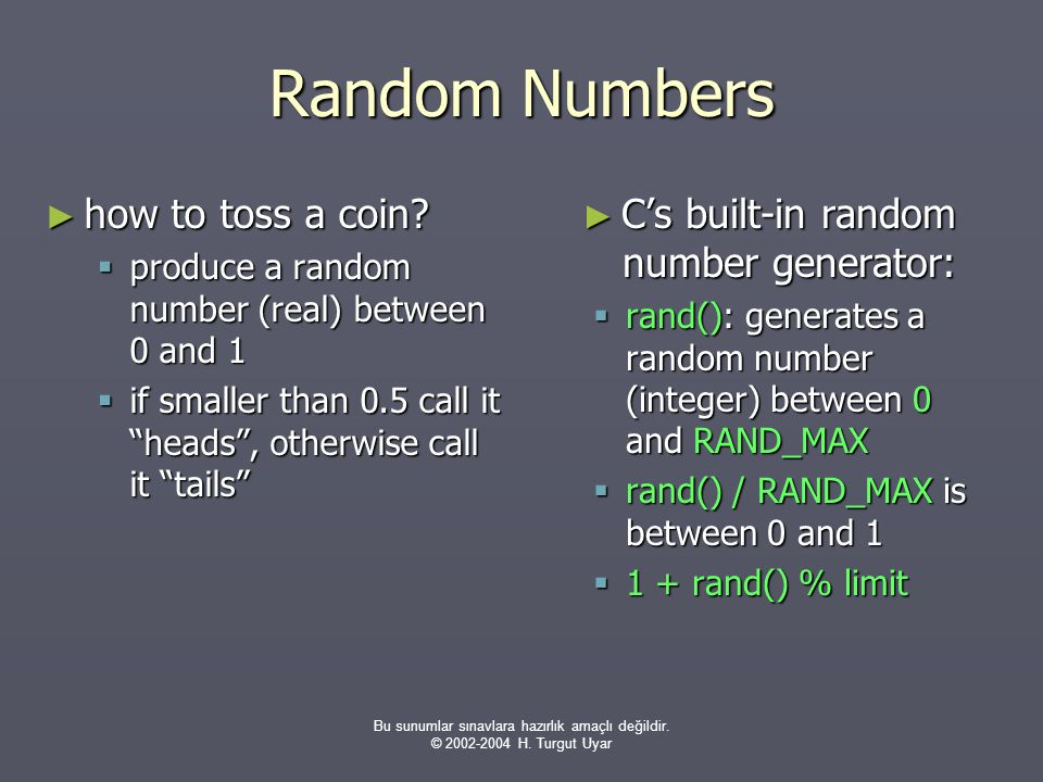 Random Numbers how to toss a coin