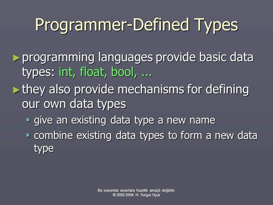 Programmer-Defined Types
