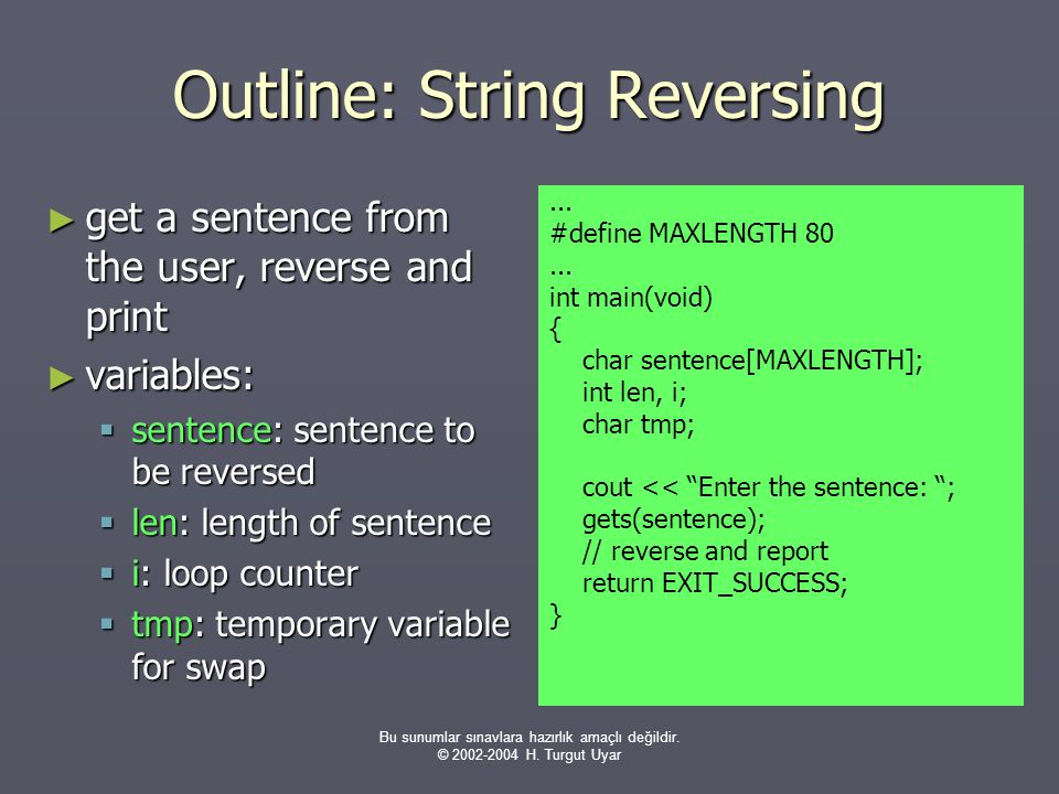 Outline: String Reversing
