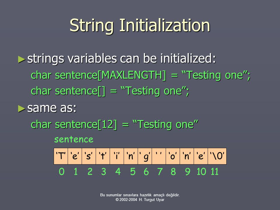 String Initialization