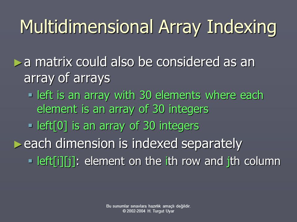 Multidimensional Array Indexing