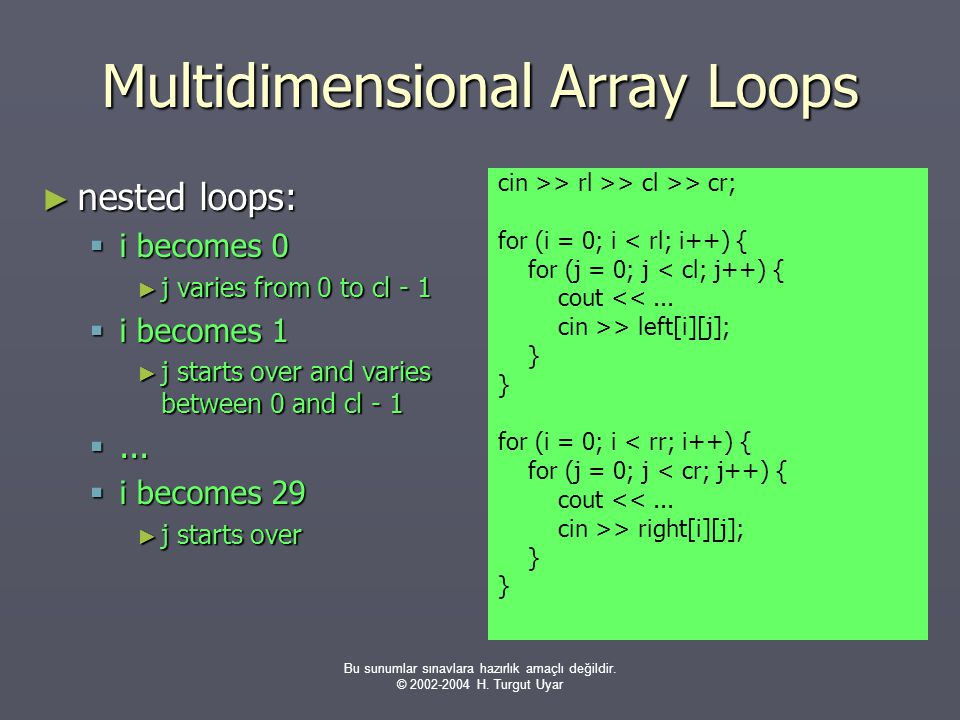 Multidimensional Array Loops