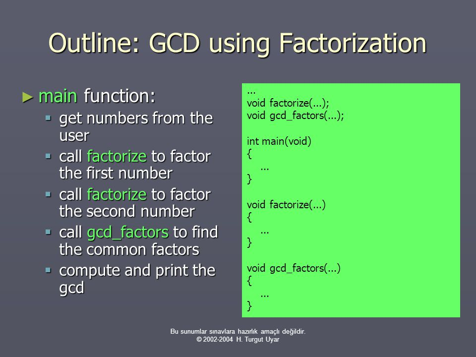 Outline: GCD using Factorization