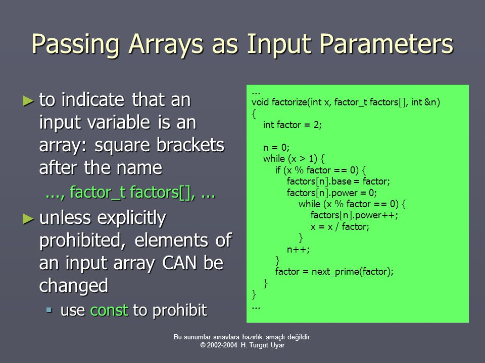 Passing Arrays as Input Parameters
