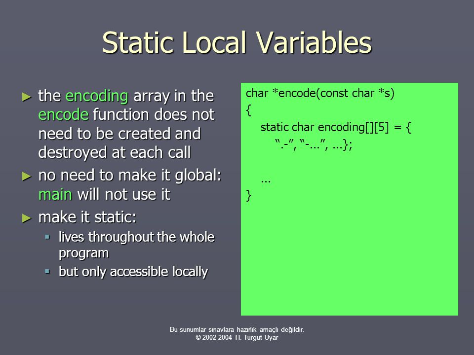 Static Local Variables
