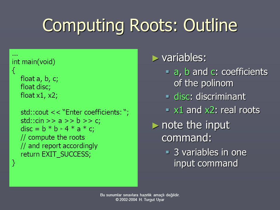 Computing Roots: Outline