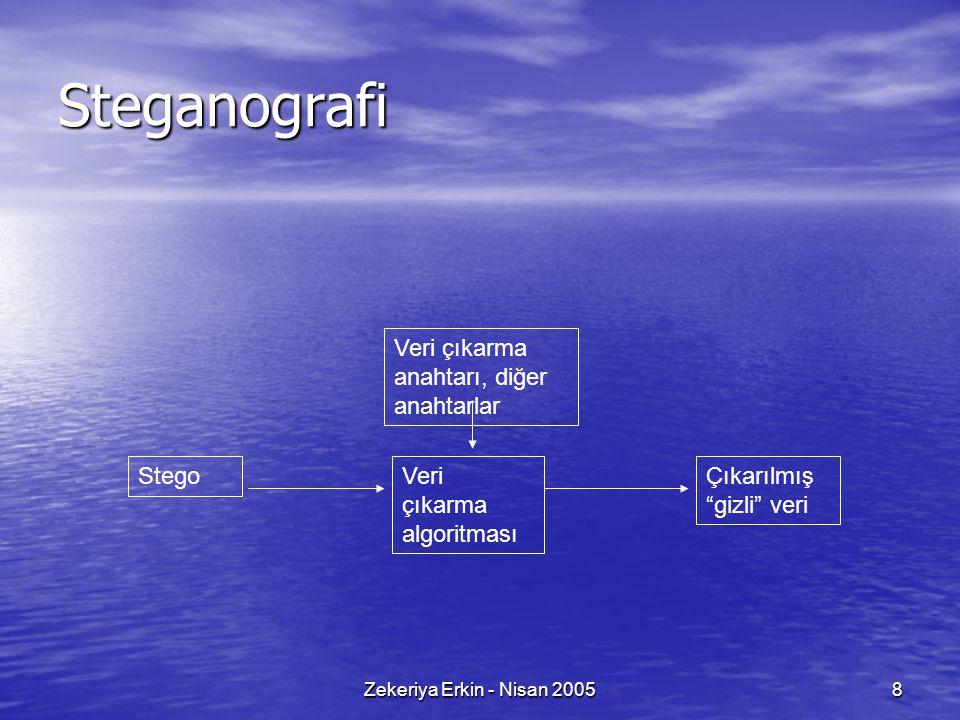 Steganografi Veri çıkarma anahtarı, diğer anahtarlar Stego