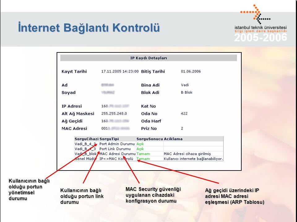İnternet Bağlantı Kontrolü